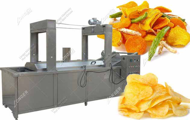 Fully Automatic Continuous Chips Snacks Frying Machine Manufacturer